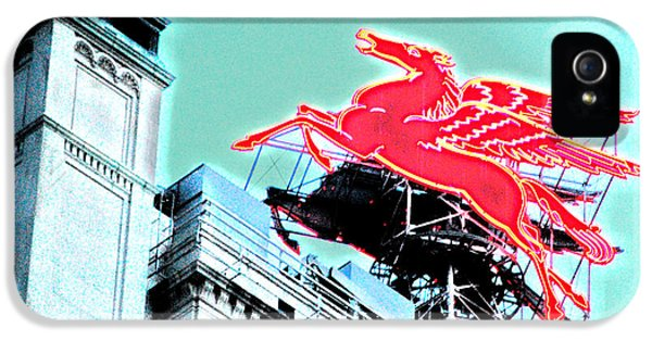 Neon Pegasus Atop Magnolia Building In Dallas Texas IPhone 5 / 5s Case by Shawn O'Brien