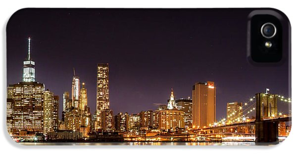 Futuristic iPhone 5 Cases - New York City Lights At Night iPhone 5 Case by Az Jackson