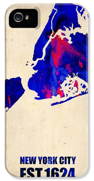 City iPhone 5 Cases - New York City Watercolor Map 1 iPhone 5 Case by Naxart Studio