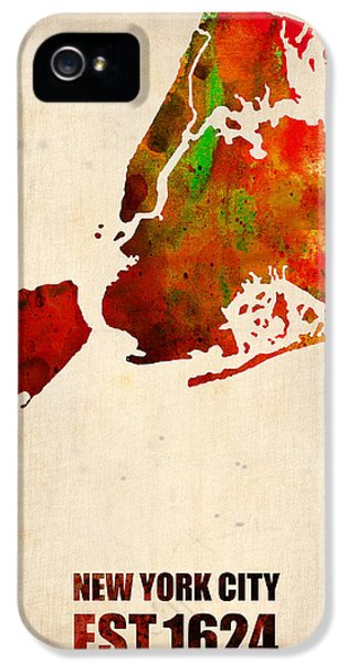 City iPhone 5 Cases - New York City Watercolor Map 2 iPhone 5 Case by Naxart Studio