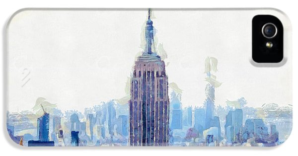 New York Skyline Art- Mixed Media Painting IPhone 5 / 5s Case by Wall Art Prints