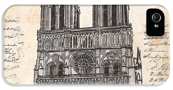 Blueprint iPhone 5 Cases - Notre Dame de Paris iPhone 5 Case by Debbie DeWitt