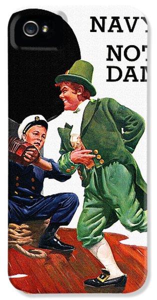 Notre Dame V Navy 1954 Vintage Program IPhone 5 / 5s Case by Big 88 Artworks