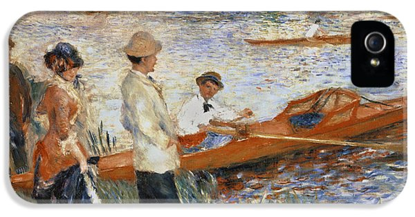 Boats iPhone 5 Cases - Oarsmen at Chatou iPhone 5 Case by Pierre Auguste Renoir