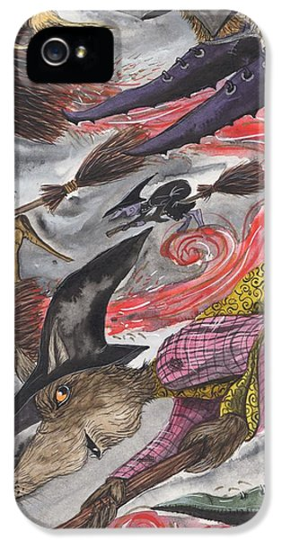 Witch On Broomstick iPhone 5 Cases - Off to the Vrooshfest. iPhone 5 Case by Jacqueline Lovesey