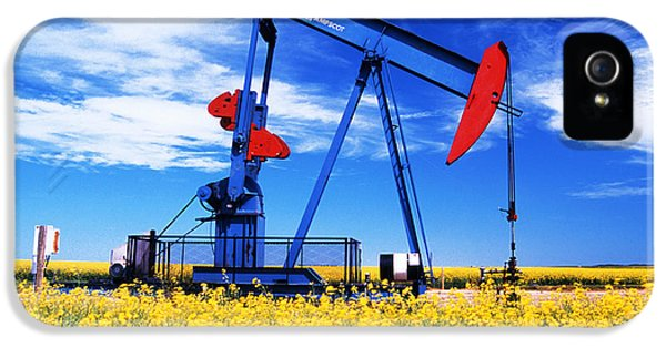 Colour Image iPhone 5 Cases - Oil Pumpjack And Canola Field, Arcola iPhone 5 Case by Dave Reede