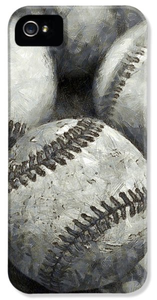Old Baseballs Pencil IPhone 5 / 5s Case by Edward Fielding