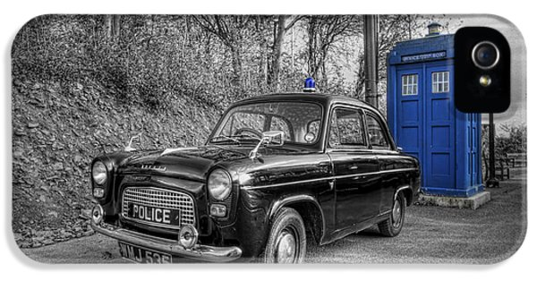 Sci Fi Art iPhone 5 Cases - Old British Police Car And Tardis iPhone 5 Case by Yhun Suarez
