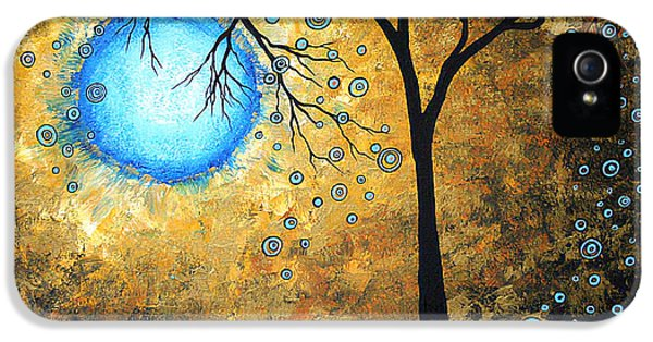 Whimsy iPhone 5 Cases - Orginal Abstract Landscape Painting BLUE FIRE by MADART iPhone 5 Case by Megan Duncanson
