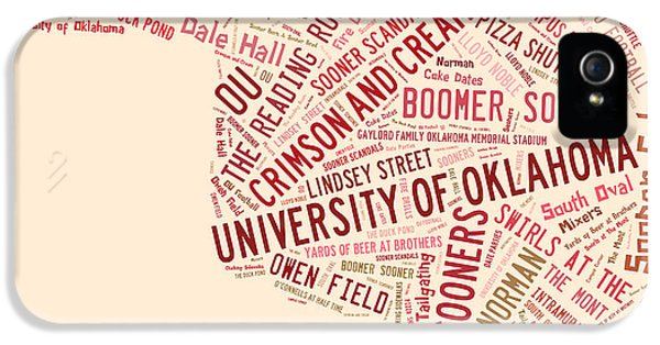 Ou Word Art University Of Oklahoma IPhone 5 / 5s Case by Roberta Peake