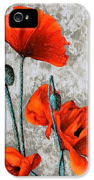 Poppy iPhone 5 Cases - Papaveri Verticali iPhone 5 Case by Guido Borelli