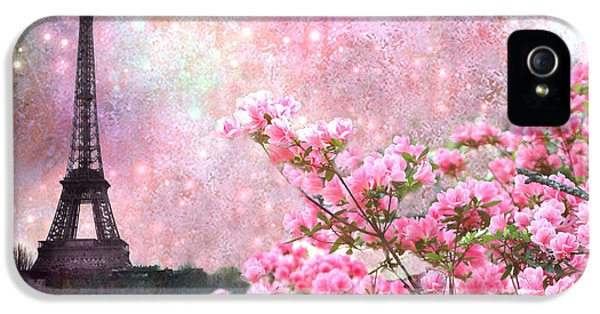 Paris Eiffel Tower Cherry Blossoms - Paris Spring Eiffel Tower Pink Blossoms  IPhone 5 / 5s Case by Kathy Fornal