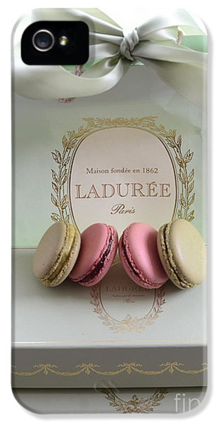Eatery iPhone 5 Cases - Paris Laduree Mint Box of Macarons - Paris French Laduree Macarons  iPhone 5 Case by Kathy Fornal