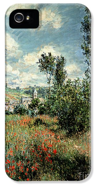 Meadow iPhone 5 Cases - Path through the Poppies iPhone 5 Case by Claude Monet