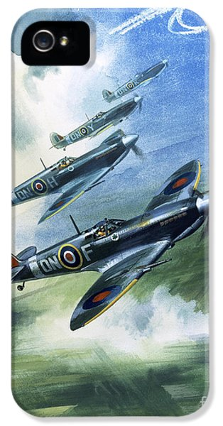 Patrolling Flight Of 416 Squadron, Royal Canadian Air Force, Spitfire Mark Nines IPhone 5 / 5s Case by Wilf Hardy