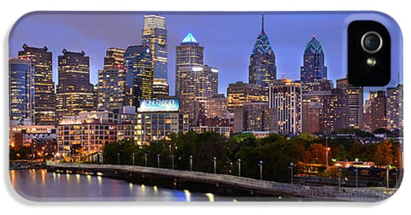 Philadelphia Philly Skyline At Dusk From Near South Color Panorama IPhone 5 / 5s Case by Jon Holiday
