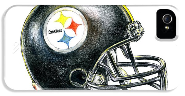 Curtain iPhone 5 Cases - Pittsburgh Steelers Helmet iPhone 5 Case by James Sayer