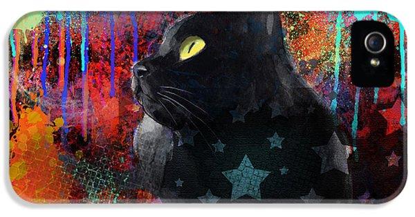 Black Cat iPhone 5 Cases - Pop Art Black Cat painting print iPhone 5 Case by Svetlana Novikova