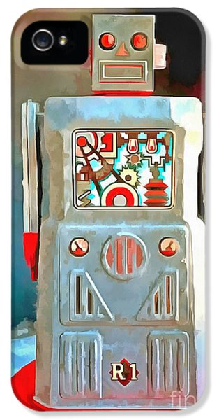 Robot iPhone 5 Cases - Pop Art Robot R-1 iPhone 5 Case by Edward Fielding