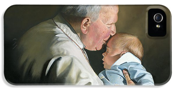 Baptize iPhone 5 Cases - Pope John Paul II with Baby iPhone 5 Case by Cecilia  Brendel