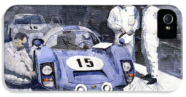 Automotive iPhone 5 Cases - Porsche 906 Daytona 1966 Herrmann-Linge iPhone 5 Case by Yuriy  Shevchuk
