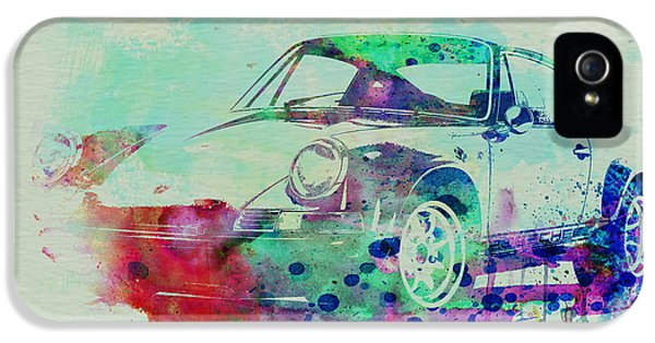 Classic Car iPhone 5 Cases - Porsche 911 Watercolor 2 iPhone 5 Case by Naxart Studio