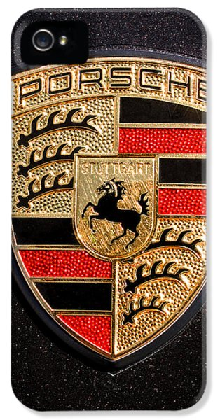 Cars iPhone 5 Cases - Porsche Emblem -211C iPhone 5 Case by Jill Reger