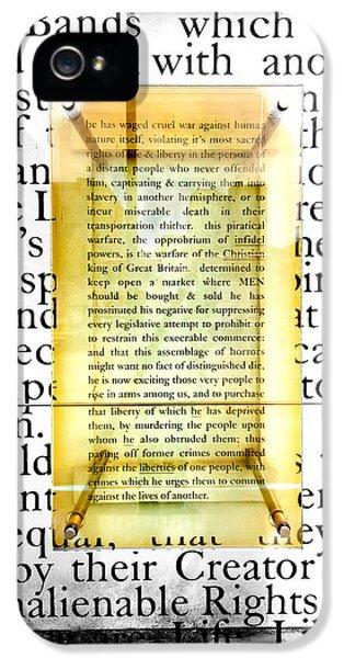 Declaration Of Independance iPhone 5 Cases - Portion of the Declaration iPhone 5 Case by Greg Fortier