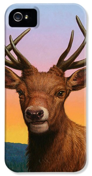 Horn iPhone 5 Cases - Portrait of a Red Deer iPhone 5 Case by James W Johnson