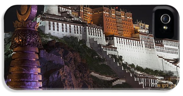 Point Of View iPhone 5 Cases - Potala Palace At Night. Historic iPhone 5 Case by Phil Borges