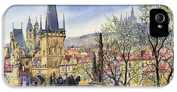 Czech Republic iPhone 5 Cases - Prague Charles Bridge Spring iPhone 5 Case by Yuriy  Shevchuk
