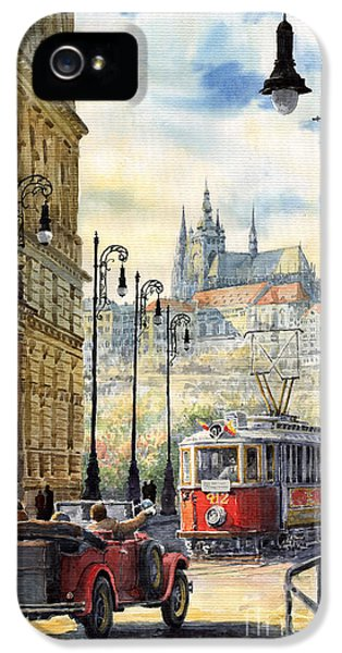 Old Tram iPhone 5 Cases - Prague Kaprova Street iPhone 5 Case by Yuriy  Shevchuk