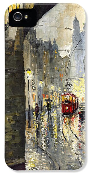 Old Tram iPhone 5 Cases - Prague Mostecka street iPhone 5 Case by Yuriy  Shevchuk