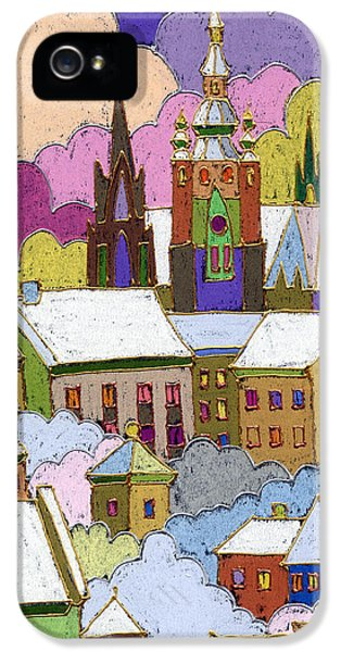 Castle iPhone 5 Cases - Prague Old Roofs Prague Castle Winter iPhone 5 Case by Yuriy  Shevchuk