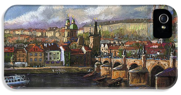 Pastel iPhone 5 Cases - Prague Panorama Charles Bridge Prague Castle iPhone 5 Case by Yuriy  Shevchuk