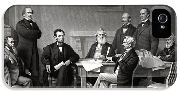 Abraham Lincoln iPhone 5 Cases - President Lincoln and His Cabinet iPhone 5 Case by War Is Hell Store