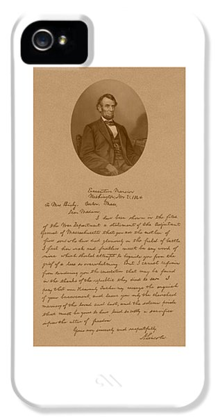 President Lincoln's Letter To Mrs. Bixby IPhone 5 / 5s Case by War Is Hell Store