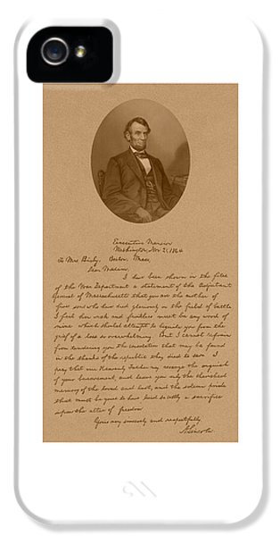 Us iPhone 5 Cases - President Lincolns Letter To Mrs. Bixby iPhone 5 Case by War Is Hell Store