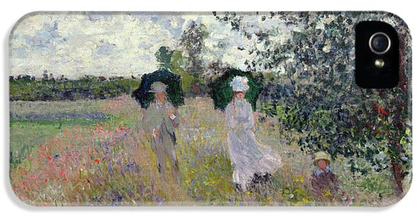 Meadow iPhone 5 Cases - Promenade near Argenteuil iPhone 5 Case by Claude Monet