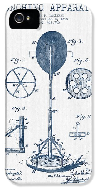 Striking iPhone 5 Cases - Punching Apparatus Patent Drawing from 1895 -  Blue Ink iPhone 5 Case by Aged Pixel