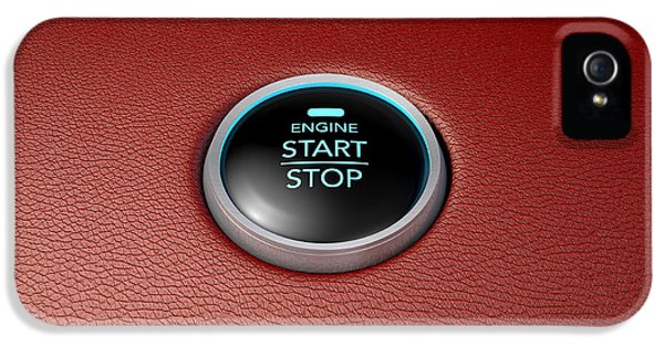 Technology Equipment iPhone 5 Cases - Push To Start Red Leather Button iPhone 5 Case by Allan Swart