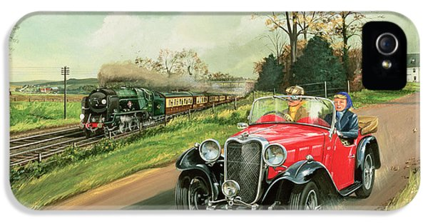 Car iPhone 5 Cases - Racing the Train iPhone 5 Case by Richard Wheatland
