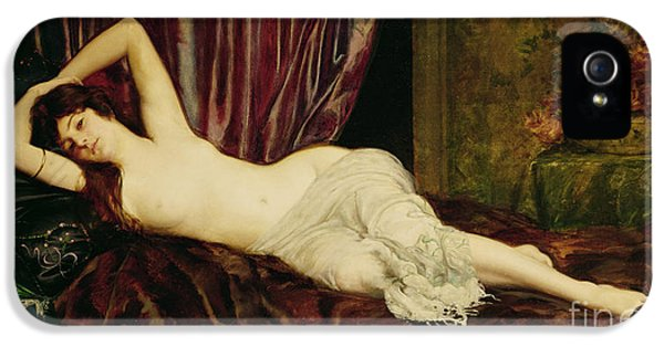 Curtain iPhone 5 Cases - Reclining Nude iPhone 5 Case by Henri Fantin Latour