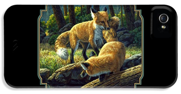 Fox iPhone 5 Cases - Red Foxes - Sibling Rivalry iPhone 5 Case by Crista Forest
