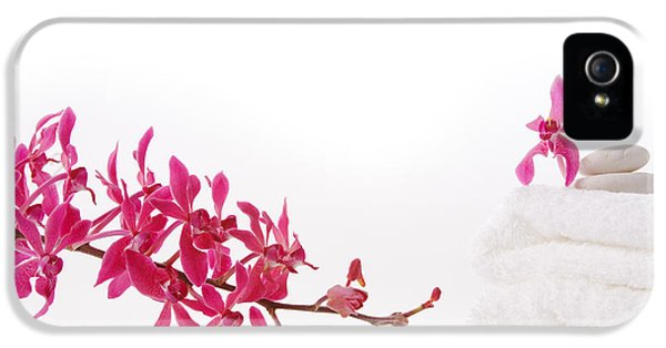 Cut-out iPhone 5 Cases - Red Orchid With Towel iPhone 5 Case by Atiketta Sangasaeng