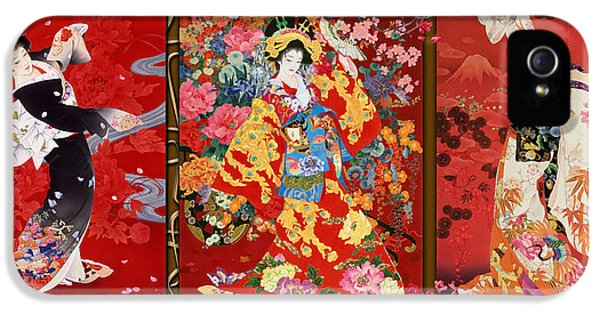 Trio iPhone 5 Cases - Red Oriental Trio iPhone 5 Case by Haruyo Morita
