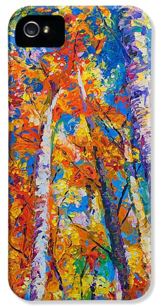 Blue Leaf iPhone 5 Cases - Redemption - fall birch and aspen iPhone 5 Case by Talya Johnson