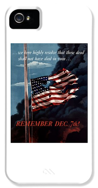 Gettysburg Address iPhone 5 Cases - Remember December Seventh iPhone 5 Case by War Is Hell Store