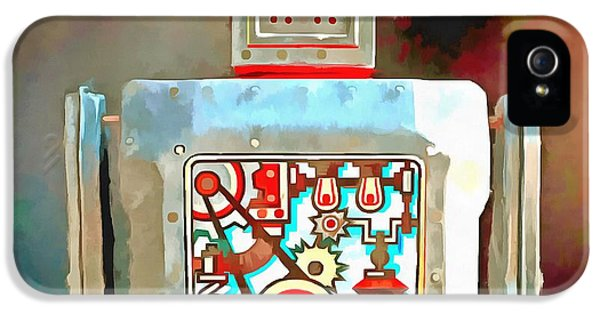 Robot iPhone 5 Cases - Robot Pop Art R-1 iPhone 5 Case by Edward Fielding