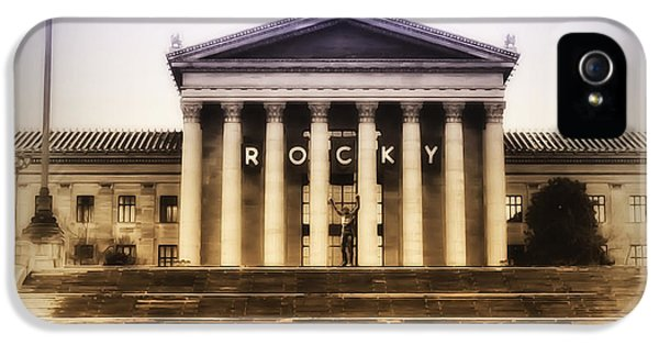 Balboa iPhone 5 Cases - Rocky on the Art Museum Steps iPhone 5 Case by Bill Cannon